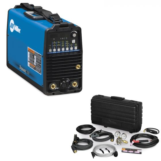 Miller Dynasty 200 DX TIG Welder and Air-Cooled Contractor Kit with Fingertip Control (951175)