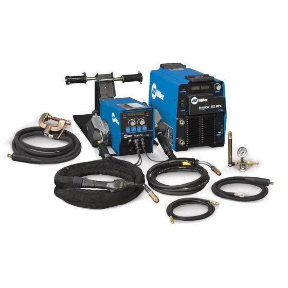 Miller Invision 352 MPa MIG Welder with D-74 Feeder, Accessory Package, and Cart (951501)