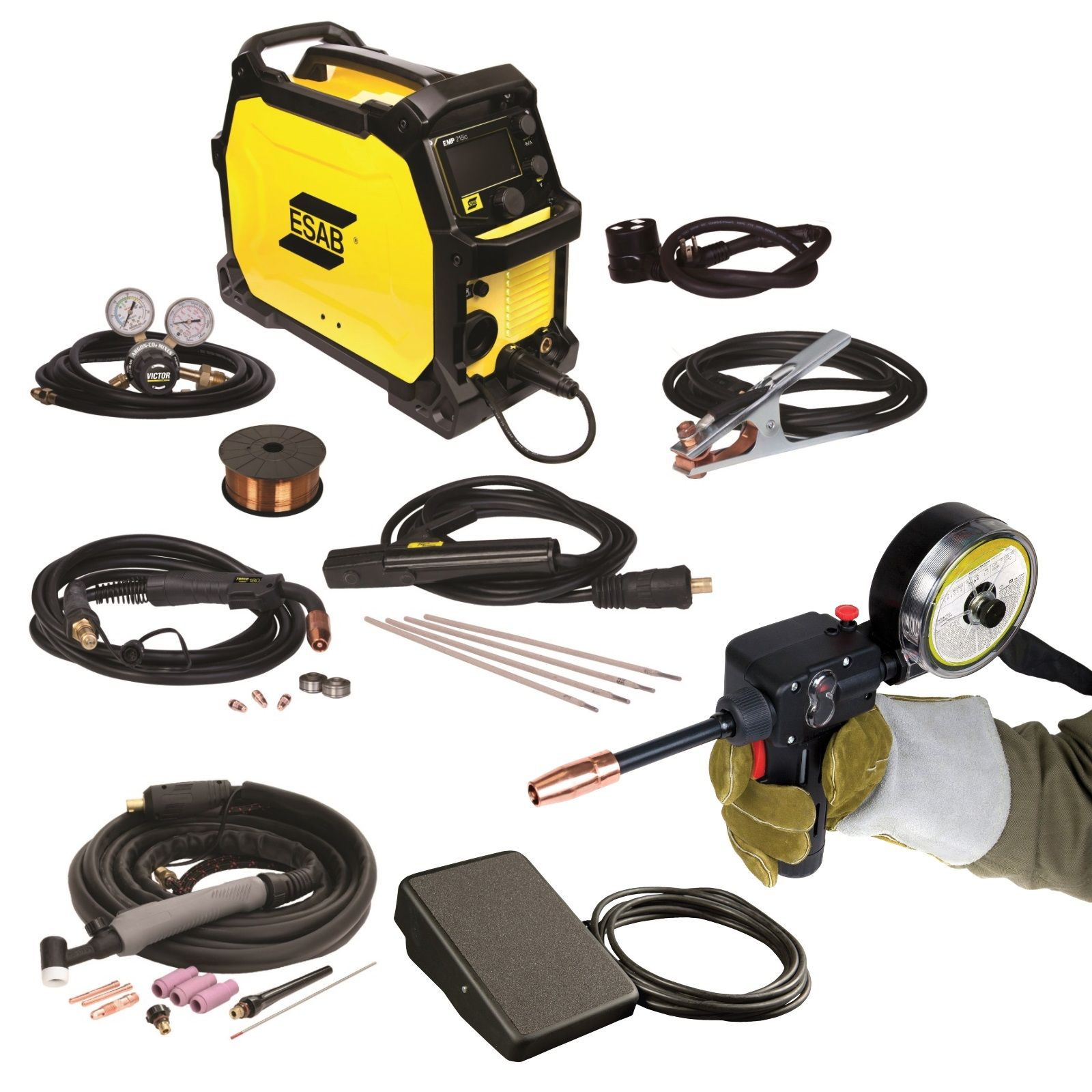 ESAB Rebel EMP 215ic Welder with Spoolgun and Foot Control (0558102240)