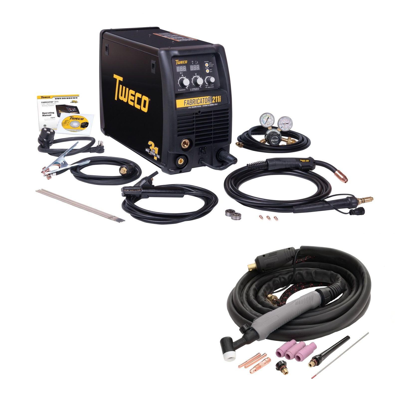 Tweco Fabricator 211i MIG, TIG, Stick Welder Pkg with TIG Torch (W1004201, W4014603)
