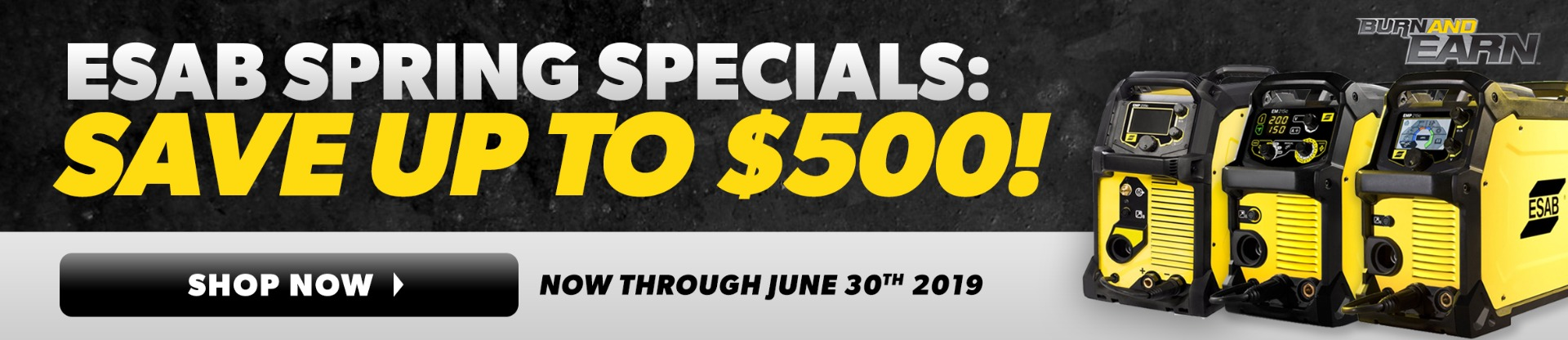 ESAB Spring Specials: Save up to $500! Shop Now. Offer ends March 31st. ESAB machine shown over dark woven fiber background with yellow stripes