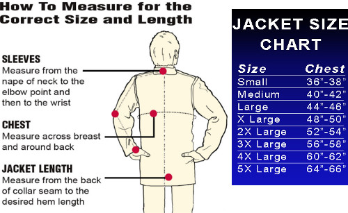 Size Chart for Tillman Jackets and Sleeves